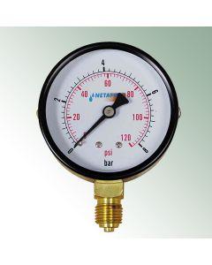 "Pressure Manometer 0-8 bar 1/4"" Male Thread"